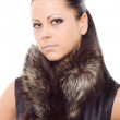 Woman fur isolated portrait closeup — Stock Photo