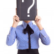 Woman business problems mark question isolated - Stock Photo