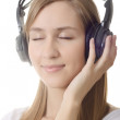 Headphones girl dream close eye - Foto Stock