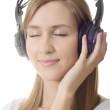 Headphones girl dream close eye — Stock Photo #3288186