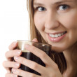 Smile girl cup coffee — Stock Photo #3288218