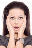 Woman panic scare emotion isolated — Stock Photo