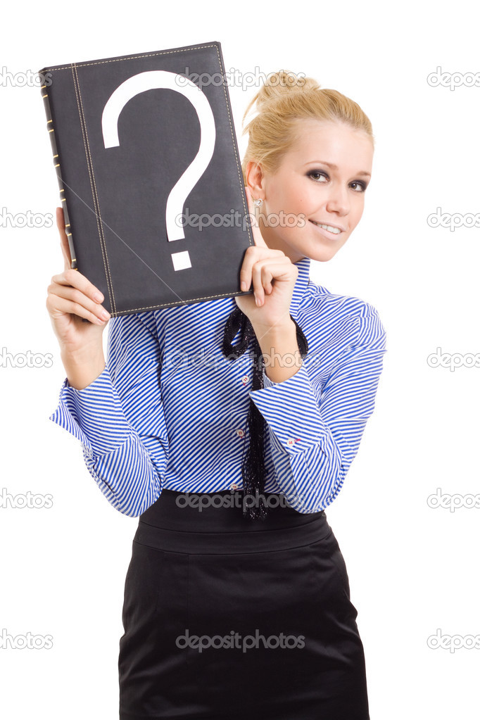 Woman business problems mark question isolated — Stock Photo #3288146