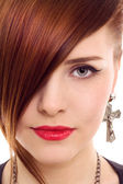 Beautiful redhair woman close up style portrait — Stock Photo