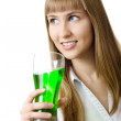 Beautiful woman with glass soda smiling isolated — Stock Photo #3321031