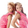 Portrait of two attractive dancers in pink costumes isolated — Stock Photo #3396473