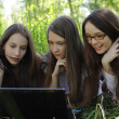 Three students relax on the grass in the park with notebook — Stock Photo #3396496