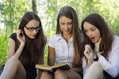 三个学生在一起学习户外 — 图库照片