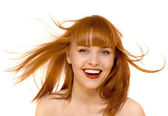 Young beautiful happy woman smile isolated — Stock Photo