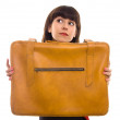 Stock Photo: Beautiful brunette woman with vintage suitcase isolated