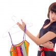 Beautiful woman hold hanger with dress isolated - Foto de Stock  