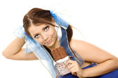 Pigtails girl with bar of chocolate isolated — Stock Photo