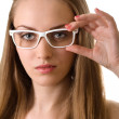 Young pretty woman in glasses isolated on white — Stock Photo #3752116
