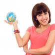 Beautiful woman hold globe in hands isolated — Stock Photo