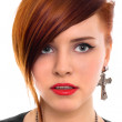 Beautiful red hair woman close up style portrait - Stock Photo