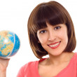 Portrait of woman with globe in hands isolated - Stock Photo