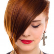 Portrait of style beautiful red hair womclose up — Stock Photo #3752149