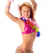 Attractive dance girl in hawaiian costume isolated - Stock Photo