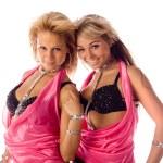 Портрет двух привлекательных танцоров в розовые костюмы изолированные — Стоковое фото