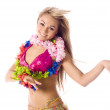 Pretty dance girl in hawaiian costume isolated — Stock Photo