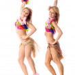 Two beautiful dancers in hawaiian costumes isolated — Stock Photo #3752210