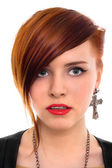красивые красные волосы женщина закрыть вверх стиль портрет — Стоковое фото