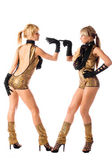 Pretty go-go girls in gold costumes on white background — Stock Photo