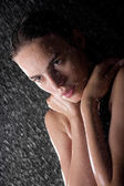 Portrait of pretty teen in shower — Stock Photo