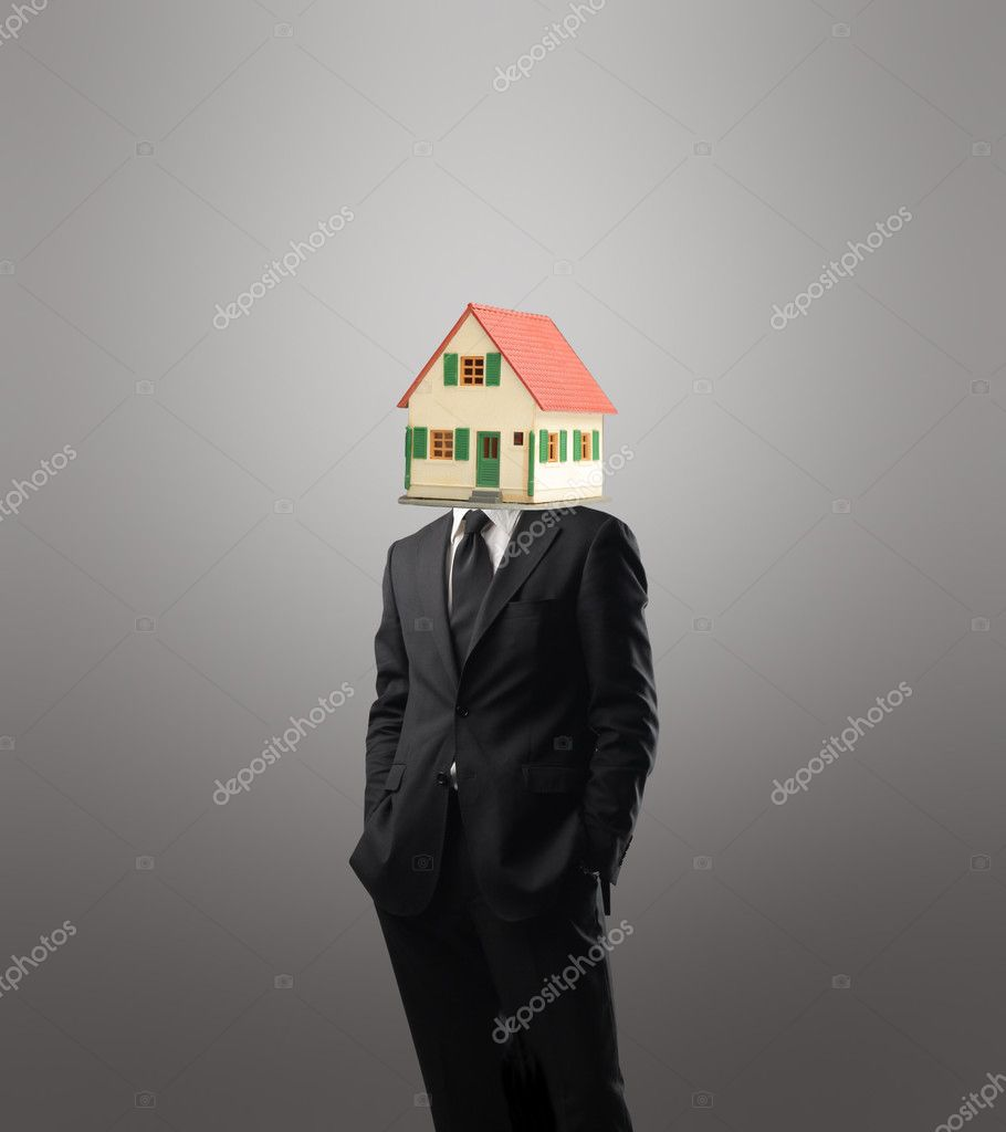 Businessman with a house instead of his head — Stock Photo #3121608