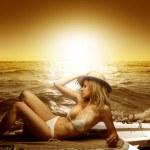 skönhet på stranden — Stockfoto