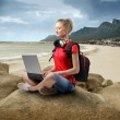Young woman sitting on a rock at the seaside and using a laptop — Stock Photo #3197156