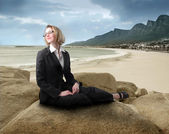 Businesswoman on holiday — Stock Photo