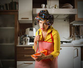 Stressed housewife — Stock Photo