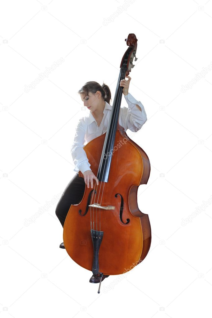 Young woman playing the double-bass — Stock Photo #3195006