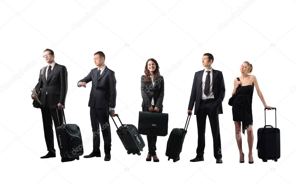Group of business with suitcases — Stock Photo #3196203