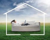 Arbete i hemmet — Stockfoto
