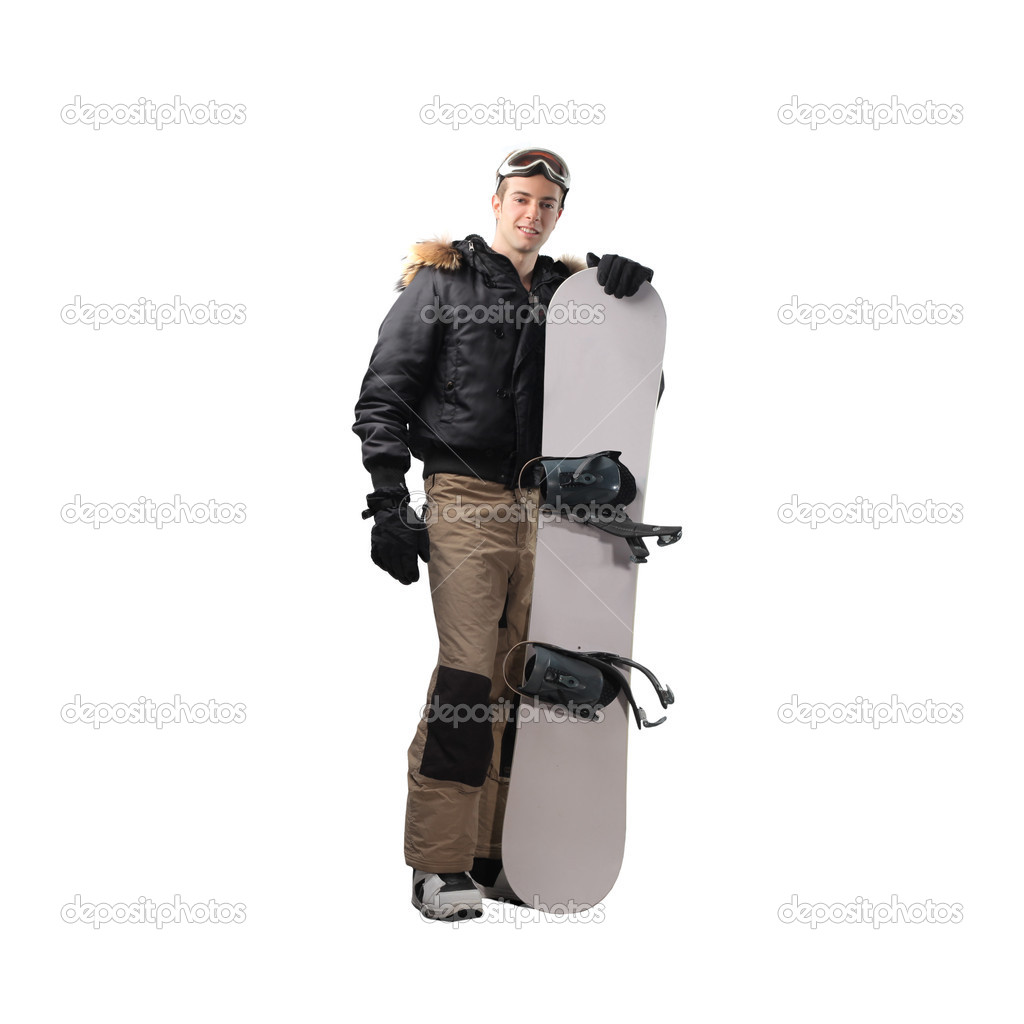 Young man holding a snowboard  Stock Photo #3208118