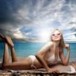 Kumsalda dinlenmek — Stok fotoğraf