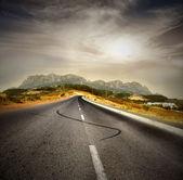 Platteland weg — Stockfoto