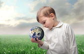 Earth in a hand — Stock Photo