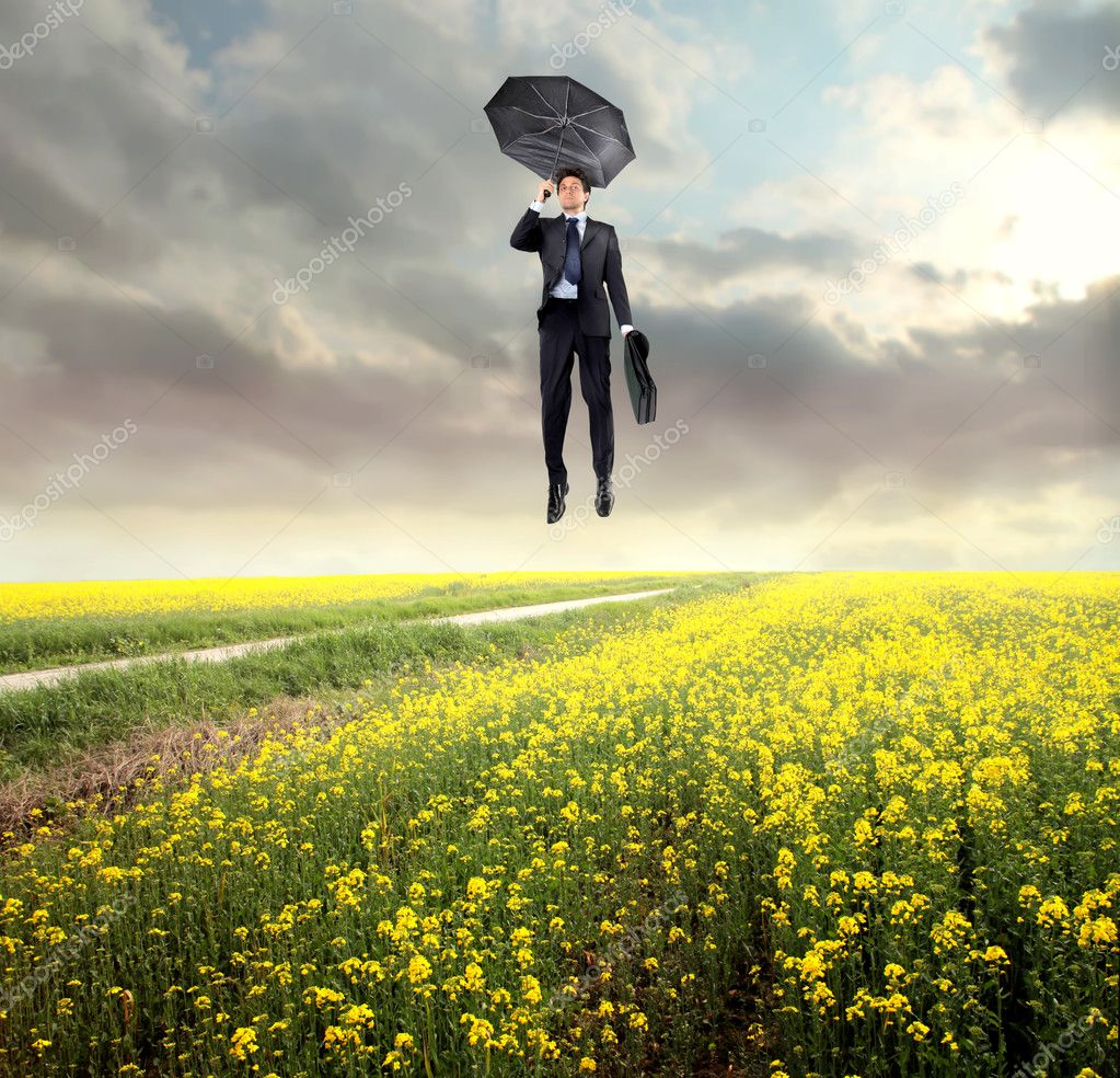 Businessman flying over a field with an umbrella  Stock Photo #3388555