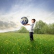 Earth in his hands — Stock Photo