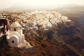 Panorama of the village of Thira on Santorini Island — Stock Photo