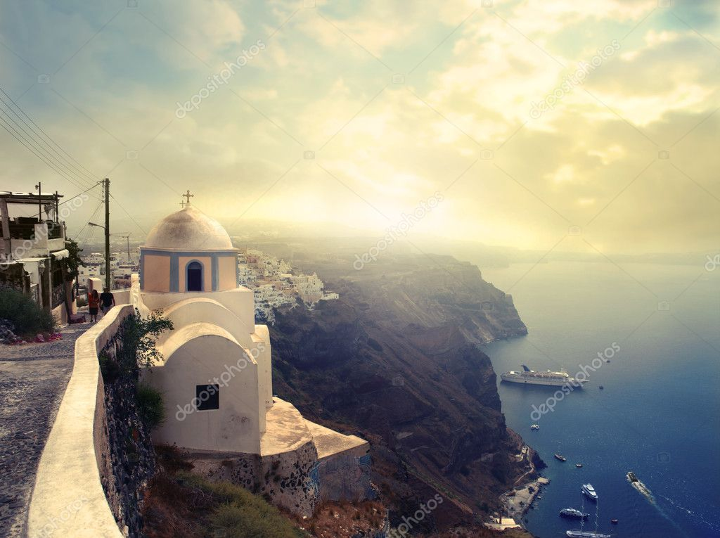 Panorama over a harbor in Santorini — Stock Photo #3857531