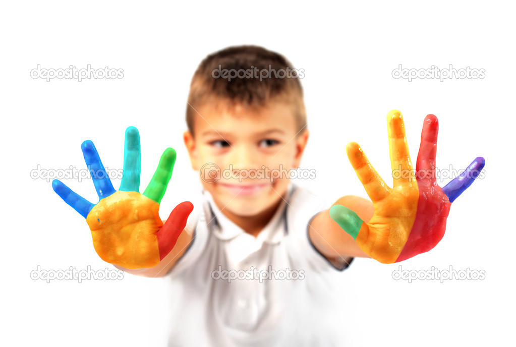 Child showing his colored hands — Stock Photo #3857828