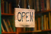 Retail image of open book shop sign — Stok fotoğraf