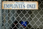 Employees Only Sign at Abandoned Warehouse — Stock Photo