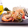 Stock Photo: Barbequed prawns