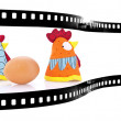 Chicken and egg film strip — Stock Photo