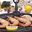 Stock Photo: Tiger prawns on grill